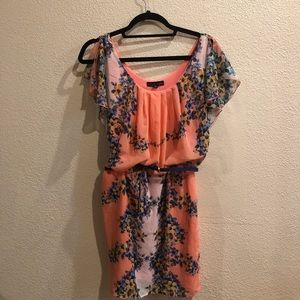 Pink Floral City Triangles Dress